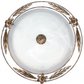 RICCIO/PL50 - Plafoniera Classica Tonda Vetro Alabastro Bianco Cornice Metallo Anticato E27