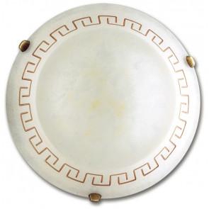 01/00912 - Plafoniera bianca anticata con decoro a greca 60 watt E27