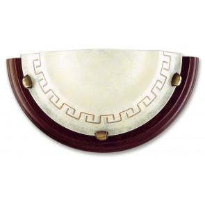 01/01812 - Applique con elegante greca e cornice in legno 60 watt E27
