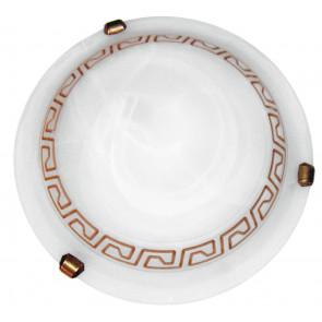 248/01512 - Plafoniera bianca con elegante greca marrone 60 watt E27