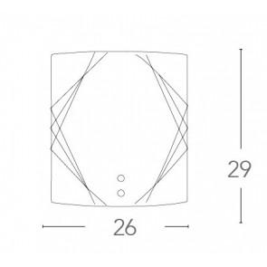 Applique Rosita Rettangolare 29x26 in Vetro con Decoro Ambra FanEurope