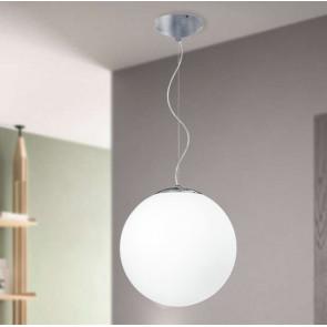 I-LAMPD/S35 BCO - Sospensione Cromo paralume Globo Vetro Bianco Lampadario Moderno E27