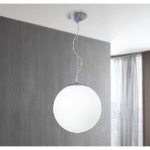 I-LAMPD/S45 BCO - Sospensione Sferica Lampadario Moderno Vetro Bianco E27