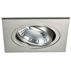 INC-ORIONE-Q6 - Incasso Controsoffitto Faretto Orientabile Quadrato Alluminio Silver Led 6 watt Luce Naturale