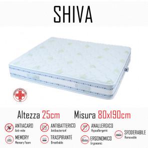 Materasso Shiva9 Zone 80x190 in gomma e memory alto 25cm