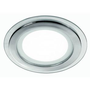 INC-PLASMA-12W - Faretto a Incasso Tondo Alluminio Cromato Bordo Vetro Trasparente Led 12 watt Luce Naturale