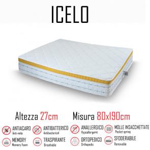 Materasso Icelo 80x190 a molle indipendenti e memory alto 27cm