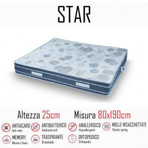 Materasso Star 80x190 a molle indipendenti e memory alto 25cm