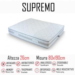 Materasso Supremo 80x190 a molle indipendenti e memory alto 26cm