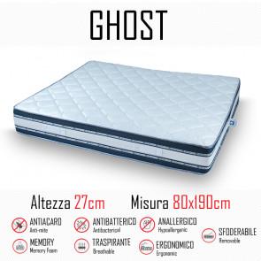 Materasso Ghost Sfod 80x190 in gomma e memory alto 27cm