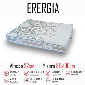 Materasso Energia 80x190 in gomma e memory alto 22cm
