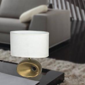 I-EOLO/L 35 - Abat jour fusto Forato Ceramica Oro paralume Tessuto Bianco Lampada Moderna E27
