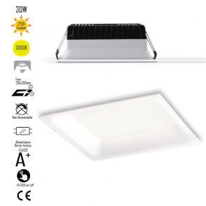 INC-XANTO-C-Q220 Lampada da incasso XANTO quadrata in alluminio bianca pressofuso con Led  SMD integrato 3000K- 2700Lm - 30W