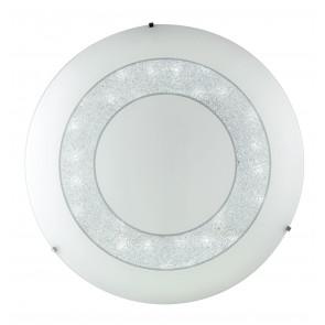 I-DIADEMA/PL45R Plafoniera da soffitto o parete Diadema  circolare in vetro decorato con cristalli K9 dm 45 cm