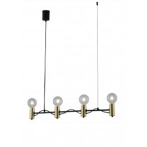 Lampadario a soffitto Axon vintage sospensione con 4 porta lampade oro e cavo in tessuto nero