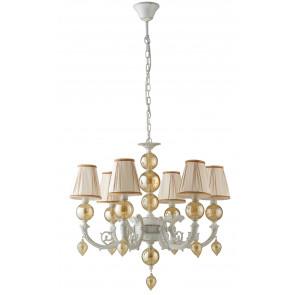 Lampadario sospensione a soffitto Orfeo design classico in metallo e vetro paralume bianco e vetri ambra
