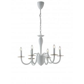 Lampadario a soffitto Armstrong design contemporaneo moderno in metallo bianco e rifiniture in oro satinato 6 lampadine