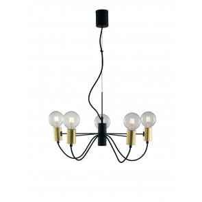 Lampadario a soffitto Axon vintage sospensione con 5 porta lampade oro e cavo in tessuto nero