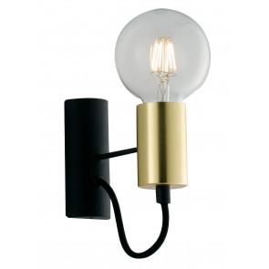 Applique Axon da muro vintage nero con porta lampade oro e cavo in tessuto nero